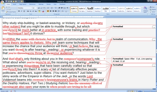 Screenshot of Microsoft Word's compare documents feature